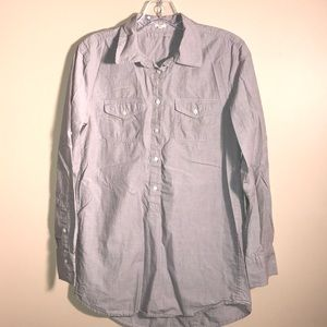J.Crew Gray Half Button Collared Pullover Shirt XS